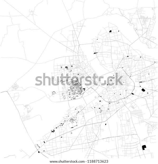 Map Surat Gujarat Satellite View Black Stock Vector Royalty Free