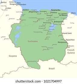 Map of Suriname. Shows country borders, urban areas, place names and roads. Labels in English where possible.