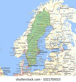 Map of Sweden. Shows country borders, urban areas, place names and roads. Labels in English where possible.Projection: Mercator.