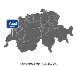 Map of Switzerland with road sign of Vaud