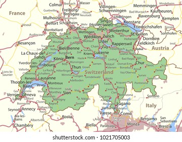 Map of Switzerland. Shows country borders, urban areas, place names and roads. Labels in English where possible.Projection: Mercator.