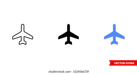 Map symbol airport icon of 3 types: color, black and white, outline. Isolated vector sign symbol.