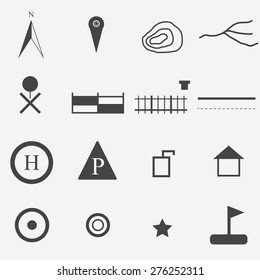 map symbol  icons set