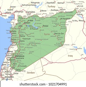 Map of Syria. Shows country borders, urban areas, place names and roads. Labels in English where possible.Projection: Mercator.