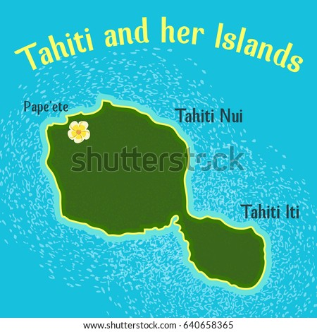 Map Tahiti Her Islands Elements This Stock Vector (Royalty Free ...