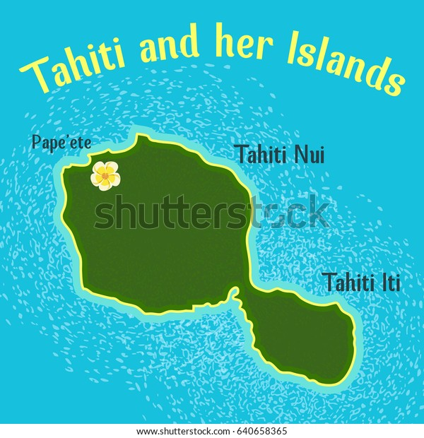 Map Tahiti Her Islands Elements This Stock Vector (Royalty ...