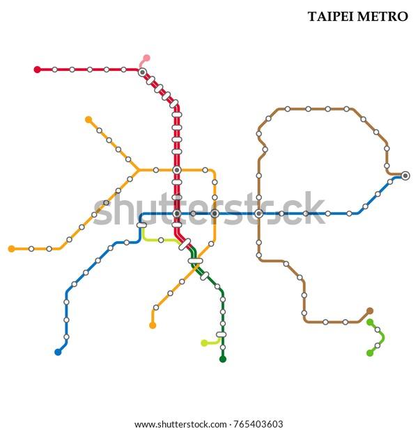Subway Map Taipei.Map Taipei Metro Subway Template City Stock Vector Royalty Free