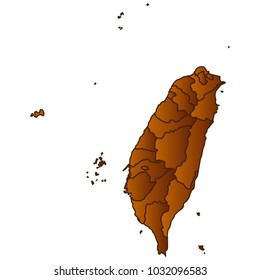 Taiwan on world map images stock photos vectors shutterstock map of taiwan map of the city and each border separately brown gold eps gumiabroncs Image collections