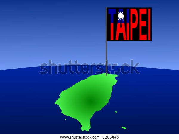map of Taiwan with position of Taipei marked by flag pole illustration