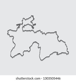 Map of Tajikistan with shadow on gray background.eps10