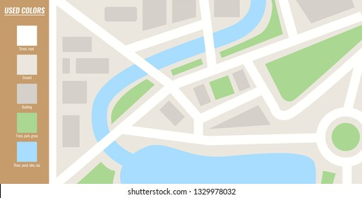 Map template. Flat color style Vector illustration.