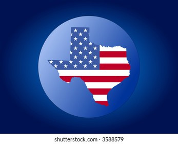 map of Texas and American flag globe illustration