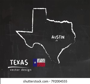 Map of Texas, Chalk sketch vector illustration