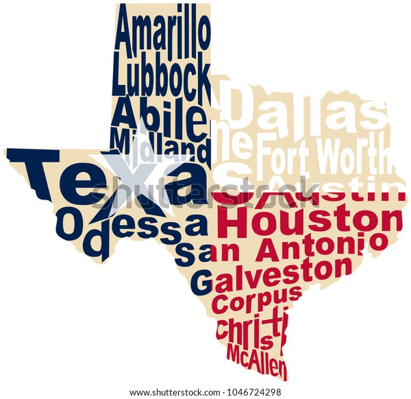 Map Texas Cities | Royalty-Free Stock Image