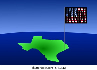 Map of Texas with position of Houston marked by flag pole illustration