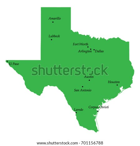 State Map Of Texas Showing Cities.Map Texas State Usa Main Cities Stock Vector Royalty Free