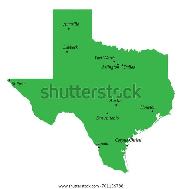 Free Map Of Texas.Map Texas State Usa Main Cities Stock Vector Royalty Free 701156788