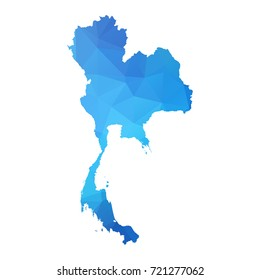 Map of Thailand - Blue Geometric Rumpled Triangular, Polygonal Design For yours. vector illustration Eps 10.