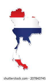 map of thailand with the image of the national flag