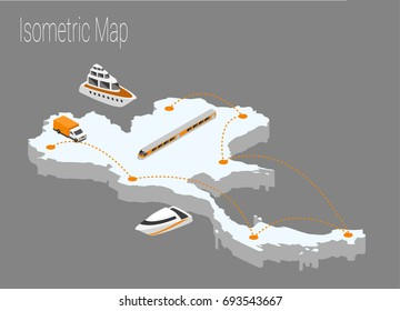 Map Thailand isometric concept. 3d flat illustration of Map Thailand.