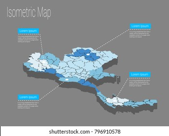 Map Thailand isometric concept. Political Thailand Map isometric 3D infographic. EPS Thailand map infographics design template