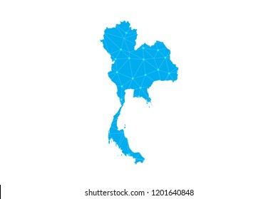 Map of Thailand from Polygonal wire frame low poly mesh,Thailand map Vector Illustration EPS10.