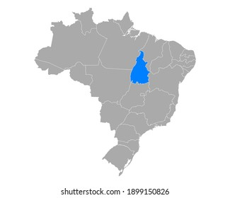 Map of Tocantins in Brazil on white