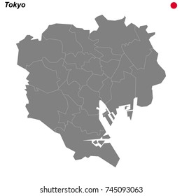 map of Tokyo city with borders of the districts