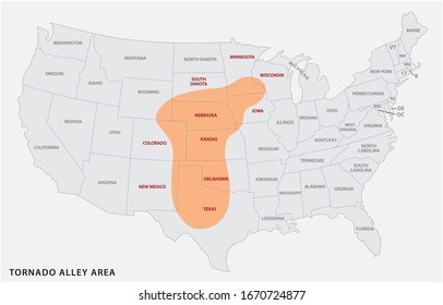Map of the Tornado Alley area in the United States