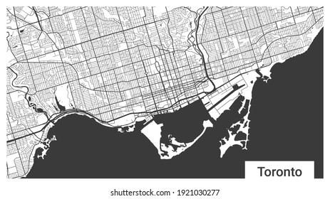 Map of Toronto city, Ontario, Canada. Horizontal Background map poster black and white land, streets and rivers. 1920 1080 proportions. Royalty free grayscale graphic vector illustration.