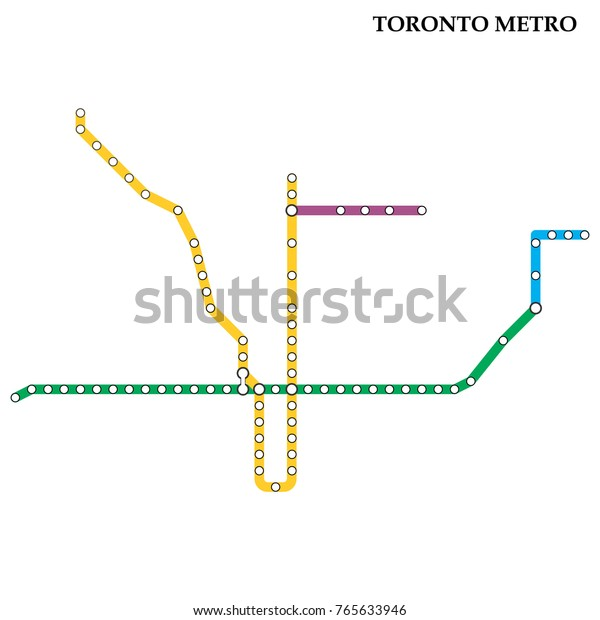 Toronto Subway Map.Map Toronto Metro Subway Template City Stock Vector Royalty Free