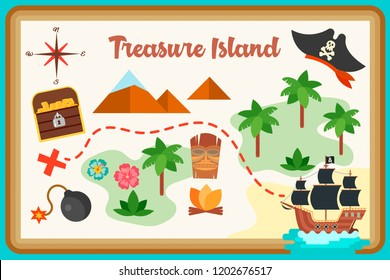 Map of treasure island flat design Pirate ship, a chest with gold coins, the camp of savages, the path to the treasure for playing pirates, competitions, contests and quests. Vector illustration.