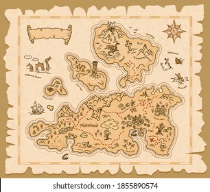 Map of treasures on old paper background, vector pirate island. Treasure map vintage scroll manuscript with compass, sea adventure and cartoon fantasy game dragon monsters, skull and drowned ships