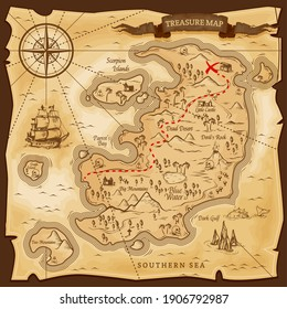 Map treasures paper parchment, pirate treasury, vector nautical travel discovery. Vintage treasure map, ship on skull island, sea adventure, chest with gold treasure X spot, compass and ocean monster