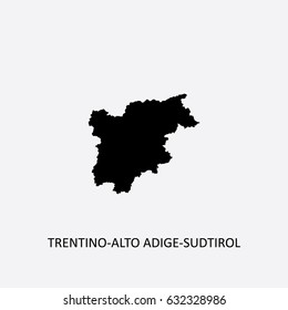 Map of Trentino-Alto Adige-Sudtirol - Italy Vector Illustration
