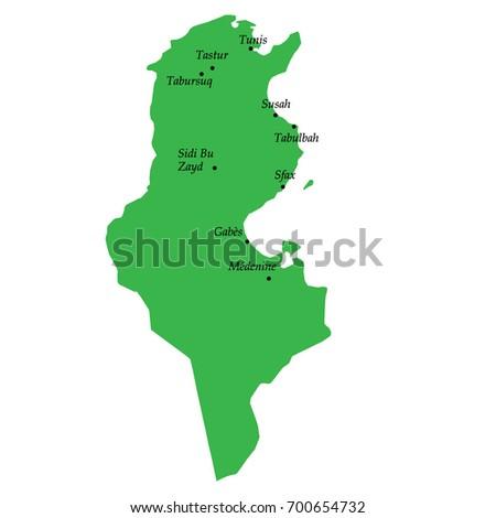 Map Tunisia Main Cities Stock Vector (Royalty Free) 700654732 ...