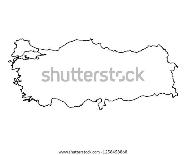 Map Turkey Stock Vector (Royalty Free) 1258458868