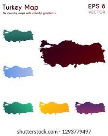 Map of Turkey with beautiful gradients. Amazing set of Turkey maps. Terrific vector illustration.