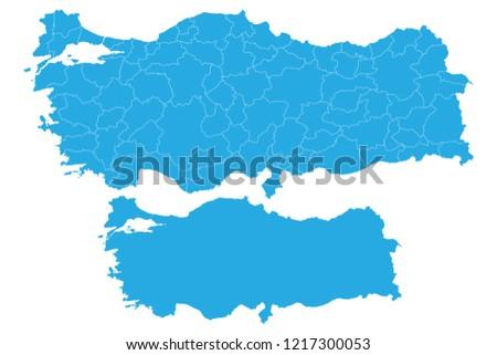 Map Turkey Couple Set Map Turkey Vector Stock Vector (Royalty Free ...