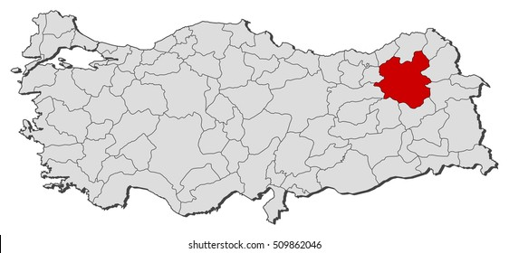 Map Erzurum Turkey 3dillustration Stock Illustration 512861908