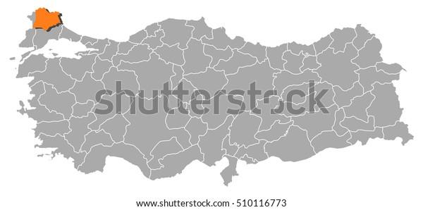 Map Turkey Kirklareli Stock Vector (Royalty Free) 510116773