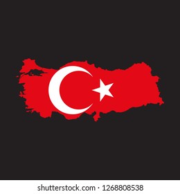 Map of Turkey with an official flag. Illustration on black background