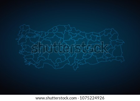 Map Turkey Abstract High Detailed Glow Map Stock Vector