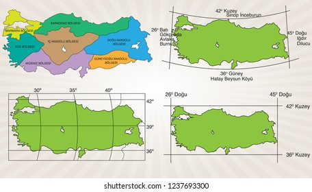 Map of Turkey's position in math and regions.