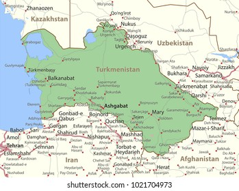 Map of Turkmenistan. Shows country borders, urban areas, place names and roads. Labels in English where possible.Projection: Mercator.