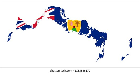 Map Of Turks and Caicos Islands (UK) With Flag Isolated On White Background,Map and National flag of Turks and Caicos Islands,Vector Illustration Flag and Map of Turks and Caicos Islands for continue.