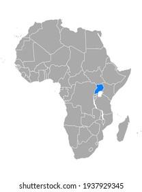 Map of Uganda in Africa on white