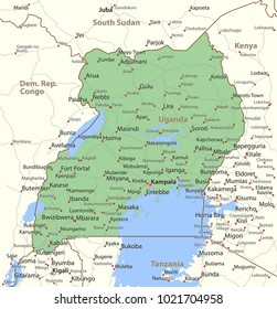 Map of Uganda. Shows country borders, urban areas, place names and roads. Labels in English where possible.Projection: Mercator.