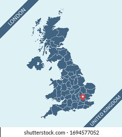 Map of UK with capital location London