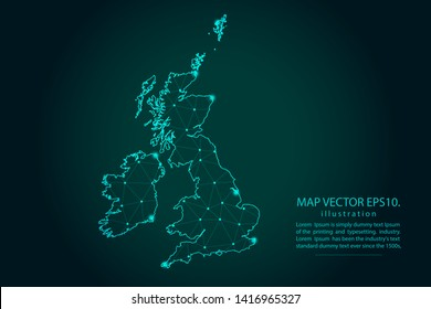 Map of uk Counties - Abstract mash line and point scales on dark gradient background. Wire Frame 3D mesh polygonal network line, design sphere, dot and structure. Vector illustration eps 10